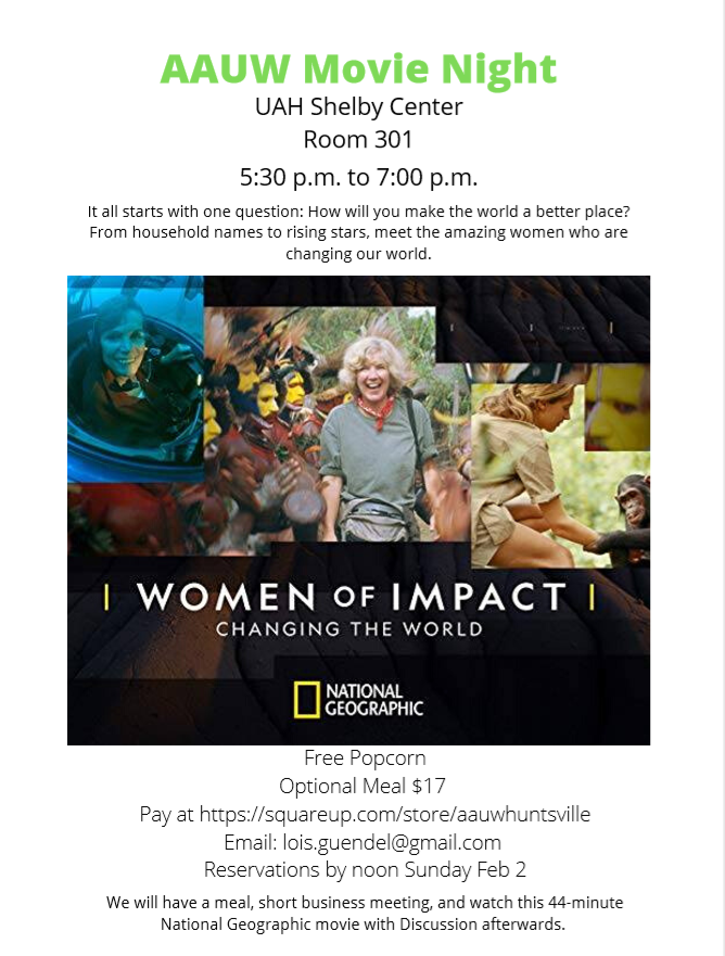 AAUW Movie Night, featuring the National Geographic documentary,Women of Impact: Changing the World